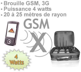 brouilleur radio fréquence , BR-GSM-POR4W - Mallette brouilleur GSM 3G tri band autonome 4 watts