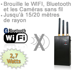 BR-WIFI-27 - Brouilleur portable  Wifi - bluetooth - camera sans fil  de 2.7 watts