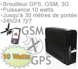 brouiller smartphone - BR-GPSM-A - Brouilleur GPS - GSM et 3G de 10 watts autonome pour une utilisation 24h/24 7jours/7