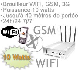 brouilleur electromagnetique , BR-WGSM - Brouilleur WIFI GSM-3G quadri-band à fréquence sélective de 10 watts