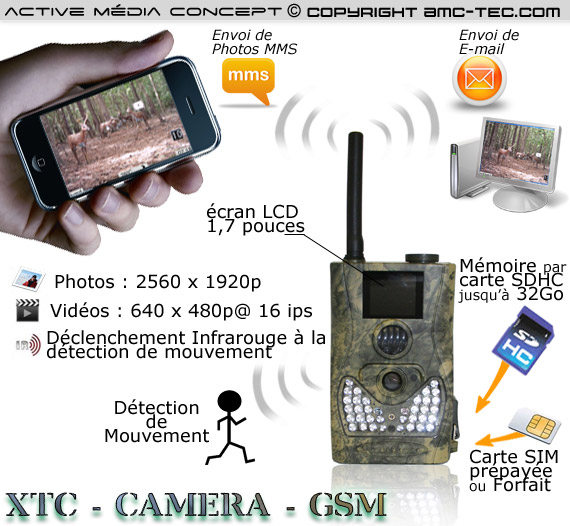Xtc camera gsm cam ra mms et e mail waterproof - Camera chasse gsm ...