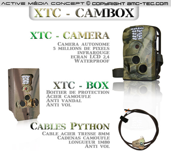 xtc cambox kit cam ra waterproof autonome 5 m gapixels infra rouge avec box anti vandal et. Black Bedroom Furniture Sets. Home Design Ideas