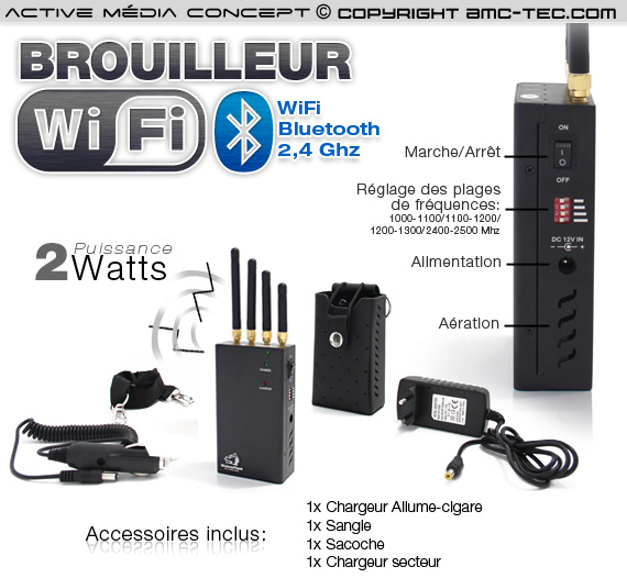 brv wifi 2w brouilleur portable ventil wifi bluetooth cam ra sans fil 2 watts autonome. Black Bedroom Furniture Sets. Home Design Ideas