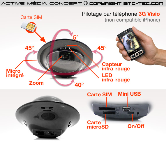 3g cam70 cam ra visio autonome 3g infrarouge pilotable par t l phone. Black Bedroom Furniture Sets. Home Design Ideas