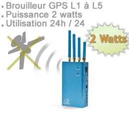 brouilleur de frequence , BRV-GPS-L15 - Brouilleur GPS fréquence L1 L2 L3 L4 L5 de 2 watts autonome