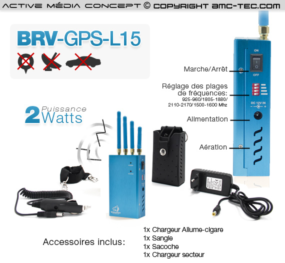 brv gps l15 brouilleur gps fr quence l1 l2 l3 l4 l5 de 2 watts autonome. Black Bedroom Furniture Sets. Home Design Ideas
