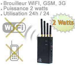 BRV-GSM-3G-WIFI - Brouilleur portable ventilé WIFI GSM et 3G  de 2 watts autonome