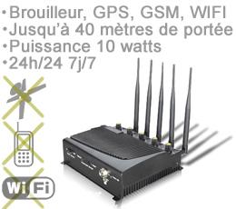 bloquer pub sur firefox , BR-ALL-10W - Brouilleur professionnel WIFI GSM-3G GPS à fréquence sélective de 10 watts