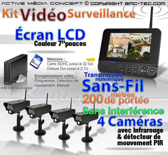pack 4chw kit videosurveillance sans fil 4 cam ras infrarouge et r cepteur cran lcd 7. Black Bedroom Furniture Sets. Home Design Ideas
