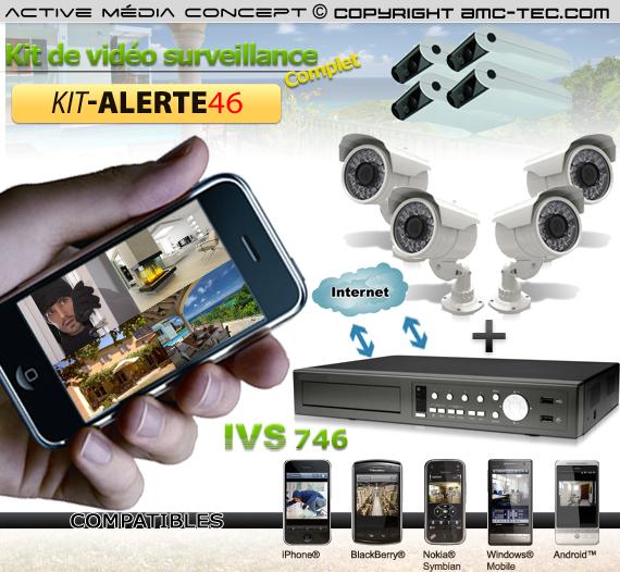 kit alerte46 kit de vid osurveillance alerte ivs 8 cam ras et un enregistreur ivs 746. Black Bedroom Furniture Sets. Home Design Ideas