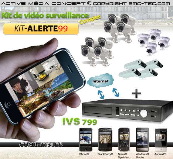 kit alerte99 kit de vid osurveillance alerte ivs 16 cam ras et un enregistreur ivs 799. Black Bedroom Furniture Sets. Home Design Ideas