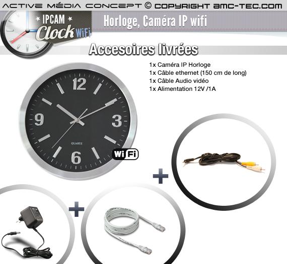 ip clock wifi horloge murale cam ra ip wifi infra rouge. Black Bedroom Furniture Sets. Home Design Ideas