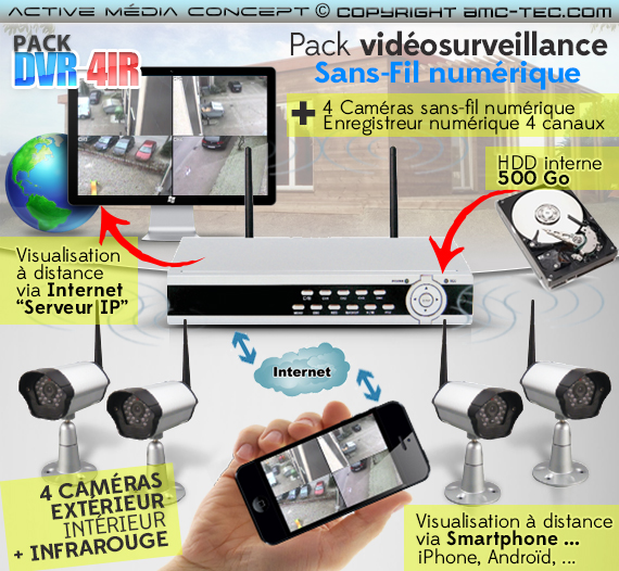 pack dvr 4ir kit vid osurveillance sans fil num rique 4 cam ras infrarouges avec enregistreur. Black Bedroom Furniture Sets. Home Design Ideas