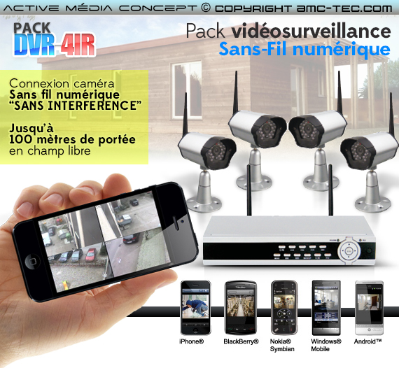 kit videosurveillance sans fil enregistreur. Black Bedroom Furniture Sets. Home Design Ideas