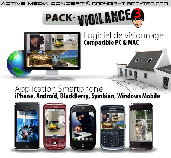 pack vigilance 3 kit de vid o surveillance 4 cam ras int rieure ext rieure est un. Black Bedroom Furniture Sets. Home Design Ideas