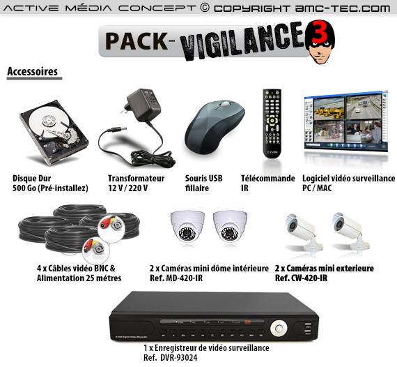 Pack vigilance 3 kit de vid o surveillance 4 cam ras for Video surveillance exterieure