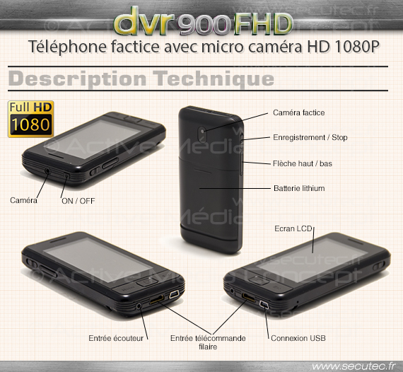 dvr tel hd t l phone portable factice avec cam ra et enregistreur hd 1080p. Black Bedroom Furniture Sets. Home Design Ideas