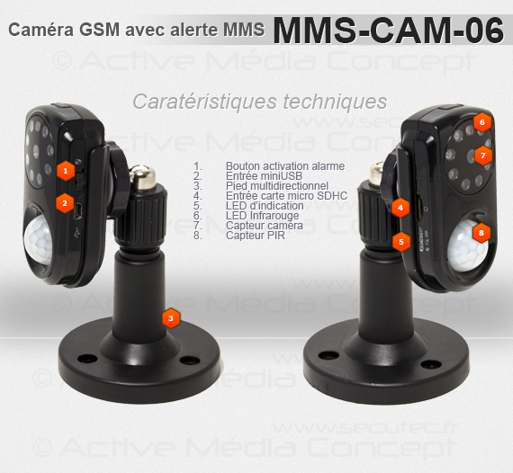 mms cam 06 cam ra gprs avec alerte mms detecteur pir et infrarouge. Black Bedroom Furniture Sets. Home Design Ideas