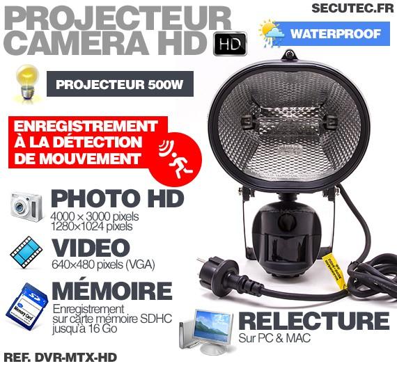 dvr-mtx-hd - caméra extérieure avec éclairage halogène et