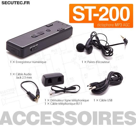 st 200 micro enregistreur longue autonomie audio num rique avec d tection de son. Black Bedroom Furniture Sets. Home Design Ideas