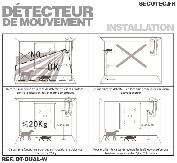Dt dual w d tecteur de mouvement int rieur par capteur pir for Detecteur de presence pour eclairage interieur