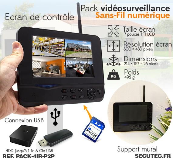 pack 4ir p2p kit vid o surveillance sans fil 4 cam ras. Black Bedroom Furniture Sets. Home Design Ideas