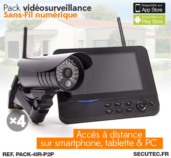 pack 4ir p2p kit vid o surveillance sans fil 4 cam ras waterproof avec alerte sur smartphone. Black Bedroom Furniture Sets. Home Design Ideas