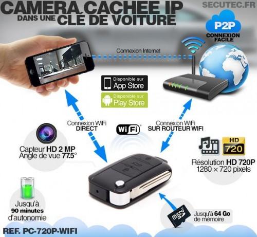 pc 720p wifi cl de voiture ip wifi cam ra cach e hd 720p avec d tection de mouvement. Black Bedroom Furniture Sets. Home Design Ideas