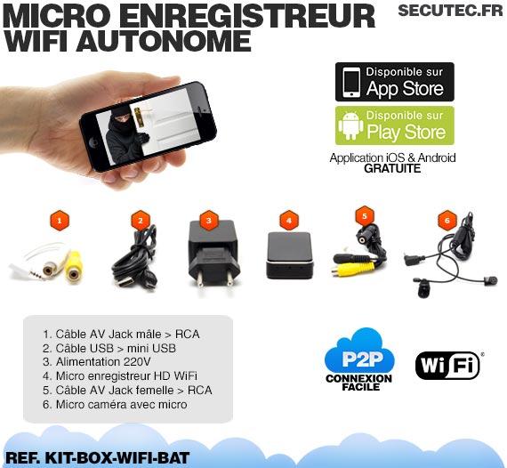 kit box wifi bat micro enregistreur wifi autonome et nano cam ra couleur 480 lignes tv. Black Bedroom Furniture Sets. Home Design Ideas