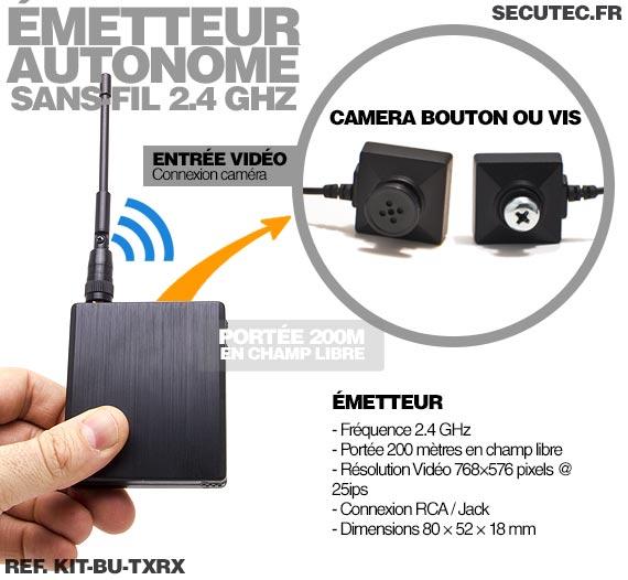kit bu txrx kit micro cam ra bouton vis 700 lignes avec metteur autonome et r cepteur sans. Black Bedroom Furniture Sets. Home Design Ideas