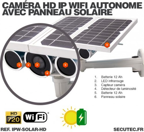 ipw solar hd cam ra ip wifi hd 720p tr s basse luminosit autonome avec panneaux solaire. Black Bedroom Furniture Sets. Home Design Ideas