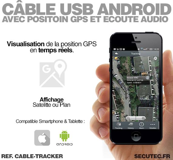 cable tracker c ble usb chargeur pour android avec positon gsm et coute audio. Black Bedroom Furniture Sets. Home Design Ideas