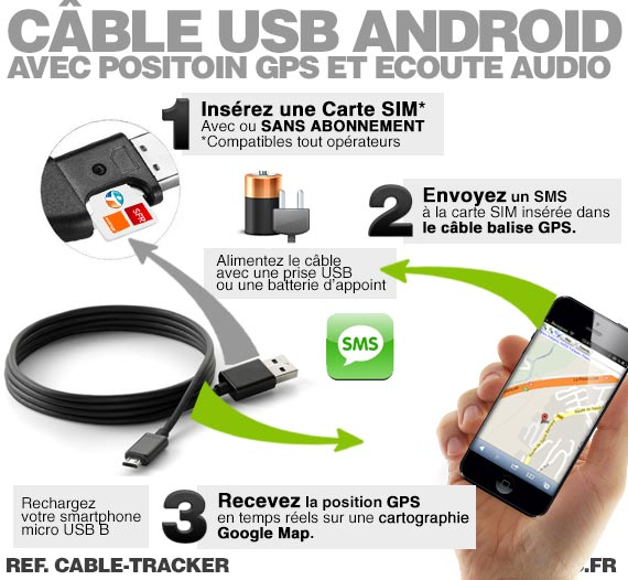 cable tracker c ble usb chargeur pour android avec positon gsm et coute audio. Black Bedroom Furniture Sets. Home Design Ideas