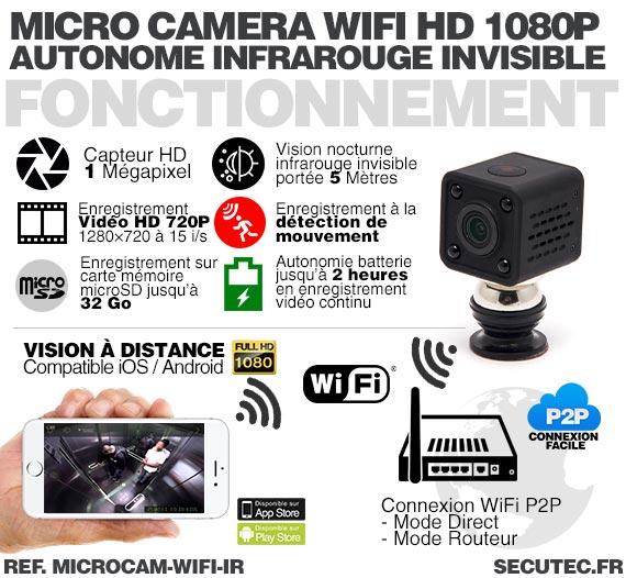 microcam wifi ir micro cam ra wifi hd 1080p autonome avec infrarouge invisible m moire microsd. Black Bedroom Furniture Sets. Home Design Ideas