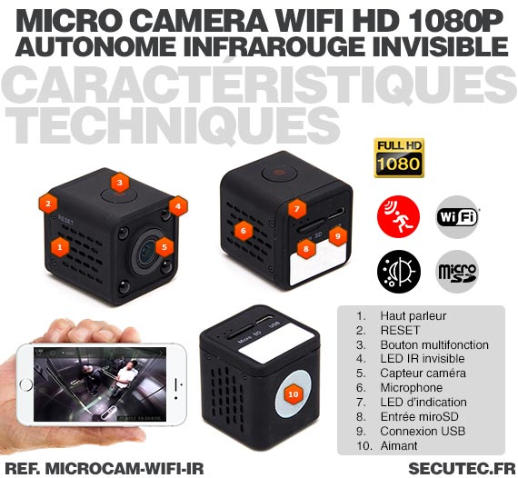 microcam wifi ir micro cam ra wifi hd 1080p autonome avec infrarouge invisible m moire microsd. Black Bedroom Furniture Sets. Home Design Ideas